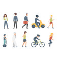 group of tiny people riding bikes on city street vector image