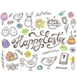 hand drawn easter doodle elements vector image vector image