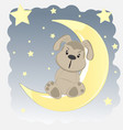 happy dog who sits on the moon vector image vector image