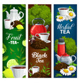 herbal fruit and black tea banners set vector image vector image