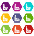 houses icon set color hexahedron vector image