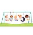 kids swing children funny games rides on car vector image vector image