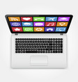laptop with icons top view vector image vector image