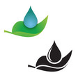 leaf and droplet icon vector image vector image