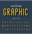 line shadow font and alphabet letter typeface vector image