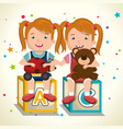 little girls playing with toys characters vector image vector image