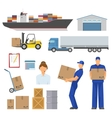 Logistics Decorative Flat Icons Set vector image