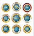 luxury gold and blue badges collection vector image vector image