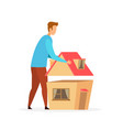 man planning house model flat vector image vector image