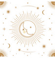 moon sun and stars seamless ornamental pattern vector image vector image