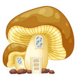 mushroom house with door and windows vector image vector image
