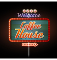 Neon sign coffee house vector image vector image