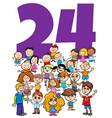 number twenty four and cartoon children group vector image