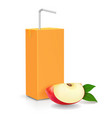 pack of apple juice with drinking straw vector image vector image
