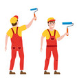 painter man paints wall is holding a paint vector image vector image
