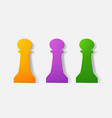 paper clipped sticker chess piece pawn vector image vector image