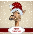 Portrait Of A Giraffe In A Christmas Hat vector image