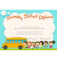 primary school diploma with schoolbus and kids vector image vector image