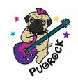 pugrock pug play electronic guitar cartoon vector image vector image