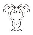 rabbit animal cartoon character isolated icon line vector image vector image