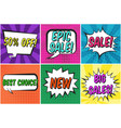 retro comic speech bubbles set with sales text vector image