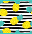 seamless background with pineapple on black vector image vector image