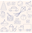 seamless pattern with toys outlines vector image