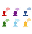 set of silhouettes of people with speech bubbles vector image
