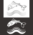 silhouette and line fish with waves vector image vector image