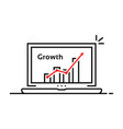 statistic graph icon in thin line laptop vector image vector image