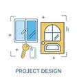 thin line flat design construction tools vector image
