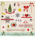 Vintage christmas elements set vector image vector image
