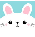 white bunny rabbit head face square icon cute vector image vector image