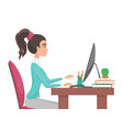 young pretty woman works in office girl sitting vector image vector image