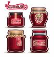 raspberry jam in glass jars vector image