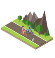 isometric countryside summer road boy and girl vector image