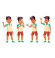 arab muslim boy schoolboy kid poses set vector image vector image