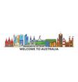 australia outline skyline australian flat thin vector image