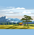 beautiful summer mountain landscape valley rural vector image vector image