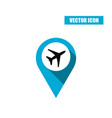 blue map pin with airplane icon vector image vector image