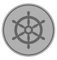 boat steering wheel silver coin vector image vector image