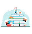 books and tiny people poster flat design concept vector image