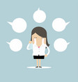businesswoman crying about negative comment vector image vector image