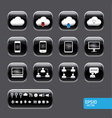 Button with cloud computer icon set