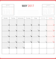 Calendar Planner for May 2017 vector image