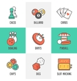 casino sport and leisure games icons vector image vector image