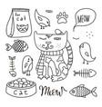 cats line doodle set 3 vector image vector image