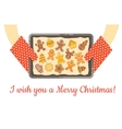 Christmas gingerbread cookies just baked on tray vector image