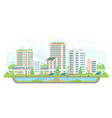 cityscape with solar panels - modern flat design vector image