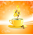 coffe good morning with yellow cup vector image vector image